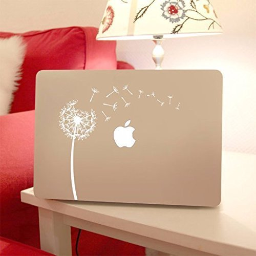 Dandelion Decal Macbook Laptop Sticker for Apple Macbook Air/Pro Computer, White Vinyl and Other Colors