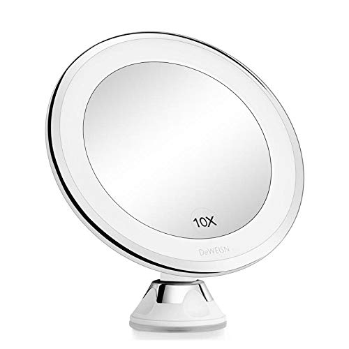 Lighted Makeup Mirror with Swivel Suction Cup – Wall Mounted, 10X Magnifying Travel Vanity Mirror Powered by USB or…