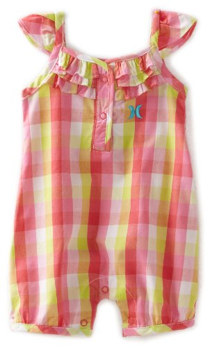 Hurley Baby-girls Infant Plaid Woven Romper