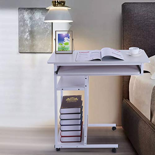 Show TINE ON Mobile Computer Desk with Wheels, Four-Tier Storage Bedside Laptop Table Computer Stand Desk Home Office with Keyboard Tray and Storage Shelves + Steel Frame from US Warehouse (White)