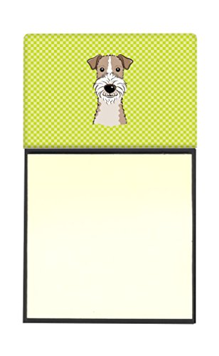 Caroline's Treasures Checkerboard Lime Green Wire Haired Fox Terrier Refillable Sticky Note Holder or Postit Note Dispenser, 3.25 by 5.5