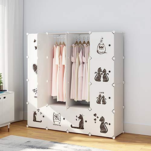 KOUSI Portable Clothes Closet Wardrobe Bedroom Armoire Dresser Cube Storage Organizer, Capacious & Custom-RB-CAT (10 Cubes 2 Hanging Clothes)