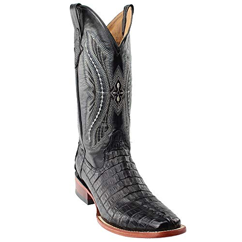 Ferrini Men's Caiman Tail Cowboy Boot Round Toe Black 8.5 D(M) US