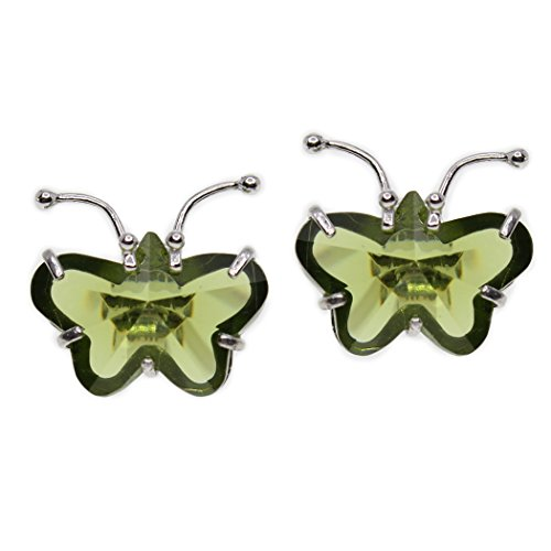 - MIU Jewellery Butterfly 925 Sterling Silver Earrings with Created Green Quartz