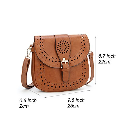 Crossbody Bag Shoulder Women's Brown Dccn Pu Leather brown pOXWq