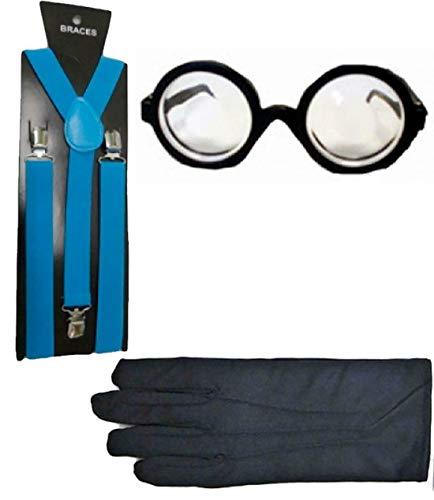 My Choice Stuff Adults Nerd Glasses Turquoise Braces Black Gloves Set Naughty School Girl Boy Dress Costume One Size Fits Most]()