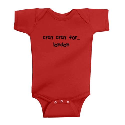 Mashed Clothing Unisex Baby Cray Cray For london Bodysuit (Red, 12 Months)