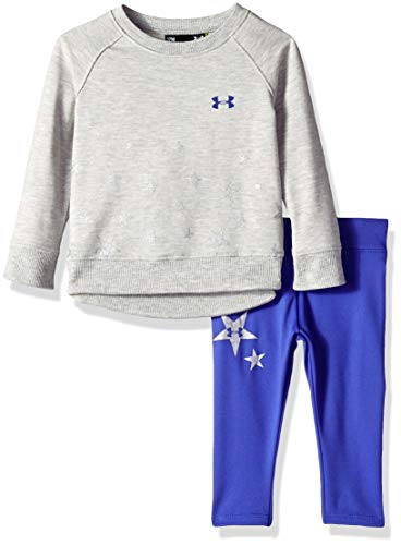 Under Armour Baby Girls Long Sleeve Tee and Legging Set, True Grey Heather Every Star, 18M (Under Armour Toddler Girls Pants)