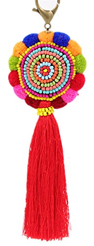 QTMY Colorful Tassel Bag Charm for Women,Layered Tassel Keychain Keyring Purse Handbag Decor Pendant (4)