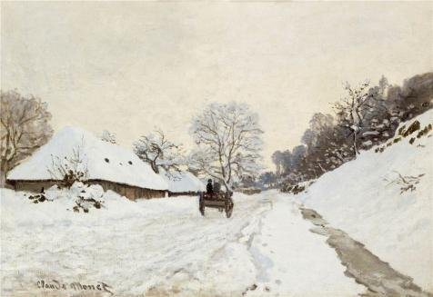 Oil Painting 'Cart On The Snow Covered Road With Saint-Simeon Farm, 1865 By Claude Monet' 16 x 23 inch / 41 x 59 cm , on High Definition HD canvas prints, gifts for Bed Room, Gym And Powder Ro decor ()