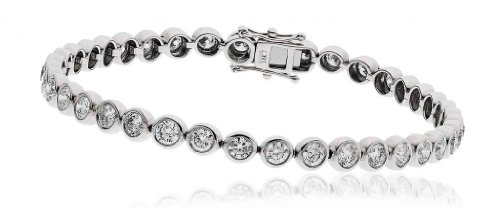 8CT Certified G/VS2 Round Brilliant Cut Rubover Diamond Tennis Bracelet in 18K White Gold