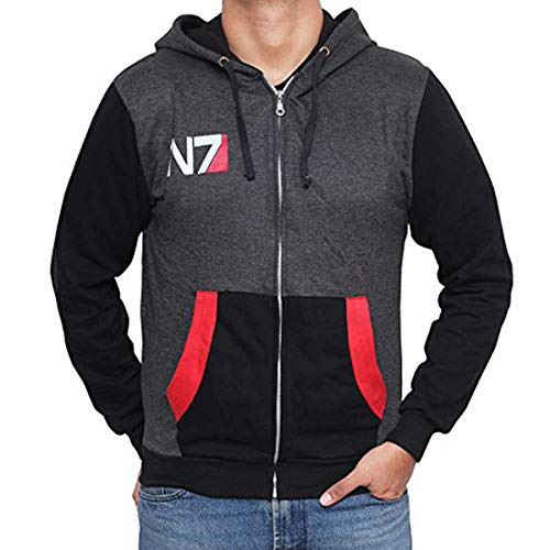 Miracle Mugs N7 Mass Effect Hoodies - Mens Adult Black & Grey Pullover (X-Small)