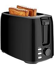 Bonsenkitchen Tostapane 2 Fette, Tostapane per Toast 7 Livelli di Tostatura Vassoio Raccoglibriciole Estraibile, Scongelamento e Annullamento, 750W, nero