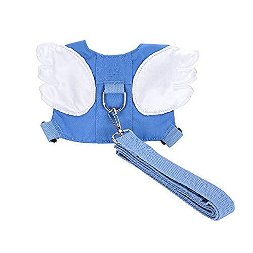 Baby Safety Walking Harness-Child Toddler Anti-Lost Belt Harness Reins with Leash Kids Assistant Strap Angel Wings Travel Haress for 1-3 Years Boys and Girls(Blue)
