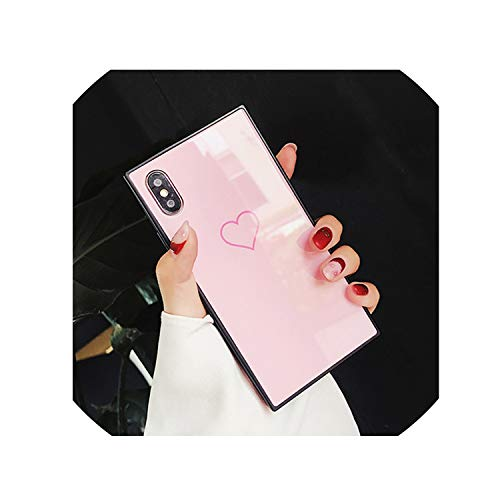 Phone Case for iPhone X 8 7 6 6S Plus Love Heart Tempered Glass Back Cover + Soft TPU Square Frame Simple Patterned Cases,9004P,for iPhone 6 6S (S5 Hello Kitty Bling Case)