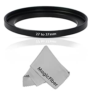 Goja 27-37MM Step-Up Adapter Ring (27MM Lens to 37MM Accessory) + Premium MagicFiber Microfiber Cleaning Cloth