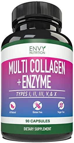 Multi-Collagen + Enzyme Capsules (Types I, II, III, V and X) - Collagen peptides Supplement for Skin, Joints, Heart, Muscle, Bone and Healthy Digestion - 90 Collagen Capsules