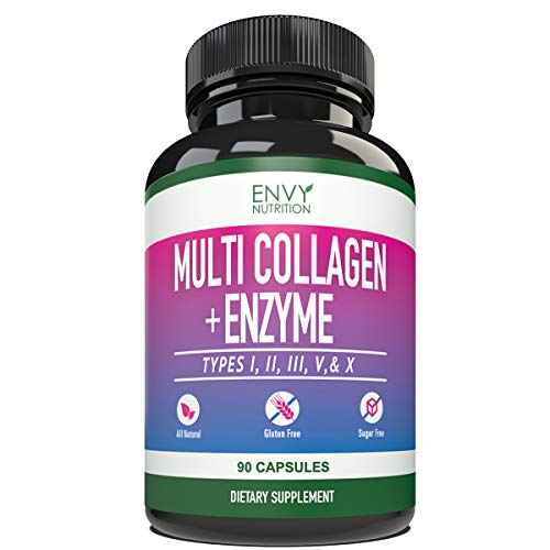 41P8NMmLXkL - Multi-Collagen + Enzyme Capsules (Types I, II, III, V and X) - Collagen peptides Supplement for Skin, Joints, Heart, Muscle, Bone and Healthy Digestion - 90 Collagen Capsules.