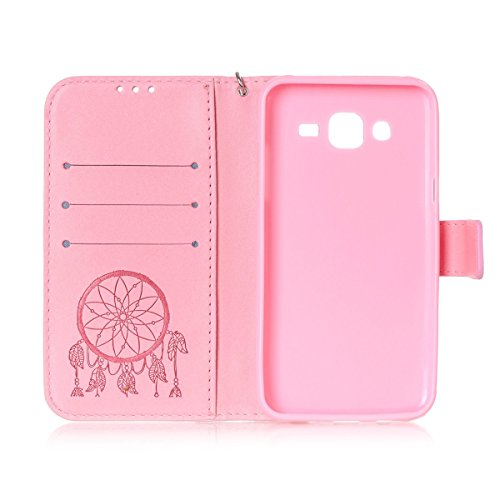 Funda Galaxy J5, Carcasa Plegable para Galaxy J5, Funda de piel Galaxy J5, Lifetrut Sólido Shiny Sparkle libro de estilo funda de cuero con ranura para tarjetas de cierre magnético soporte funda de te E202-Atrapasueños en rosa
