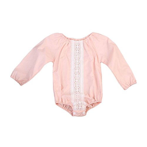 - GSHOOTS Baby Girls' Long Sleeve Lace Romper Bodysuit Onesies Autumn Outfit Clothes (100 / 18-24 Months, Pink Daisy)