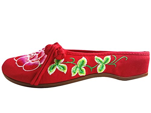 SMITHROAD Damen Hausschuhe aus Canvas mit Blumen Stickerei Traditionelle Chinesische Schuhe Sommer Pantoffeln Gr.36-41 Rot