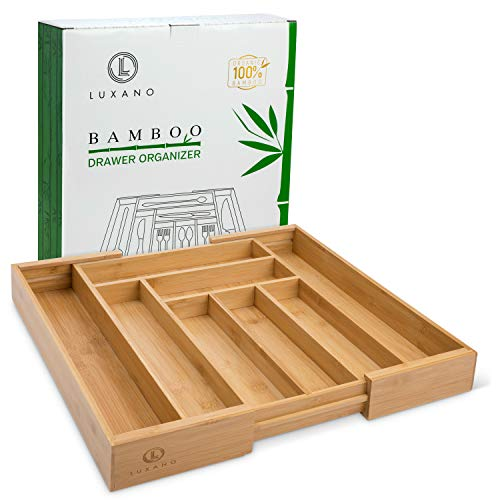 Deep Expandable Bamboo Drawer Organizer: Heavy Duty Adjustable Separator for Cutlery, Silverware, Flatware, Kitchen Utensil, Tools - Locking Divider Tray Holder. Totally Organic Bamboo. 3 Year Warrant
