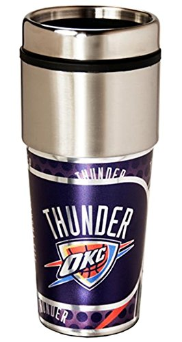Oklahoma City Thunder 16 ounce Travel Tumbler with Metallic - Okc Shops Outlet