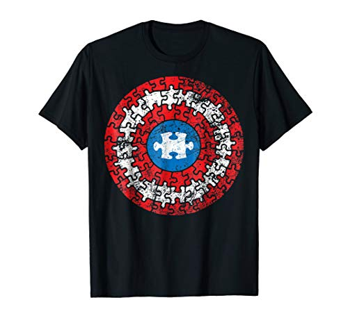 Autism Awareness Puzzle Superhero Shield T Shirt -
