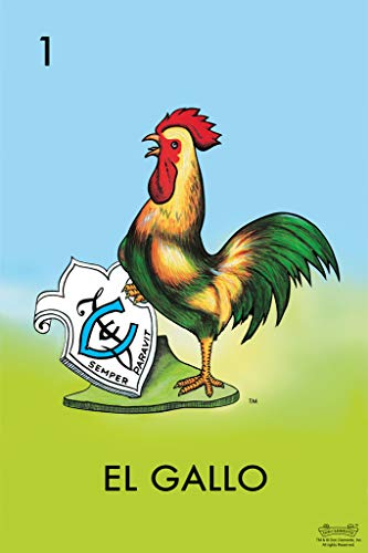 01 El Gallo Rooster Loteria Card Mexican Bingo Lottery Poster 12x18 ()