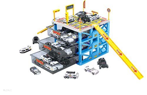 WolVol Police Parking Service Garage - 6 Cars Included - Miniature Vehicle Playset - For Matchbox and Hotwheels - Portable Organizer for Small Cars for Kids Boys & Girls