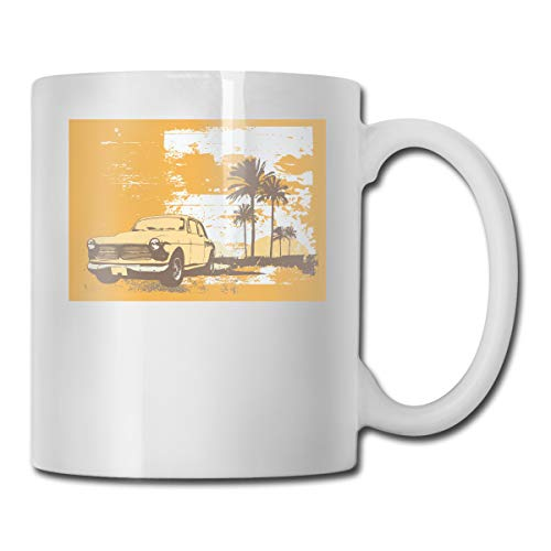Car One Tree Funny (Henakeji Car and Palm Tree Poster Funny Mug New Custom Coffee Cup Teacup White Porcelain Cup-17 Ounces)