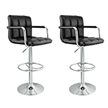 Nicer Furniture Hexagrid PU Height Adjustable Bar Stool with Arms in Black - set of 2
