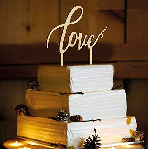 Losuya Love Decoraci/ón para tarta de boda suministros de decoraci/ón compromiso madera
