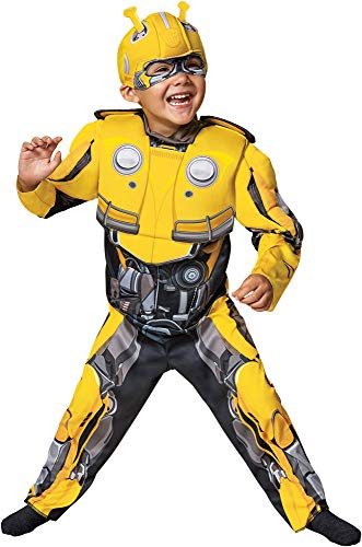 Disguise Boy's Transformers Bumblebee Muscle Outfit Toddler Halloween Costume, Toddler M (3-4T)