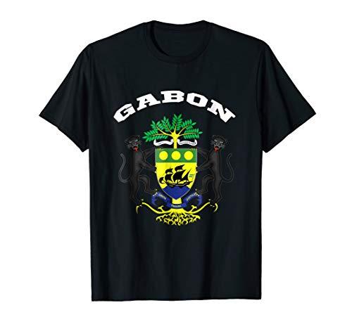 Coat Gabon - Gabon T-shirt Coat of arms Tee Flag souvenir Gabonese
