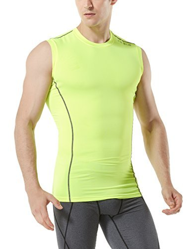 TM-MUA05-NEY_Small Tesla Men's R Neck Sleeveless Muscle Tank Dry Compression Baselayer MUA05