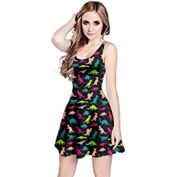 CowCow Womens Black Dinosaur Sleeveless Dress, Black Dinosaur - 5XL