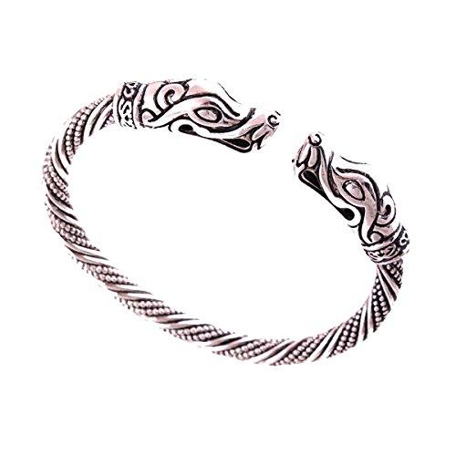 Jormungandr Viking Bracelet Snake Serpent Pagan Norse Celtic Snakes Reptile Bangle Handmade Heathen Larp (Silver)