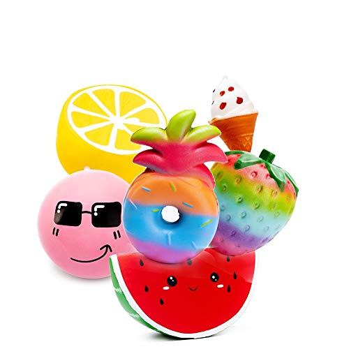SYYISA Squishies 6 Pcs Jumbo Slow Rising Colorful Strawberry Pineapple Lemon Watermelon Cone Bun Ice Cream Squeeze Kawaii Squishies Scented Charms Hand Wrist Stress Relief Toys - 6 Pack