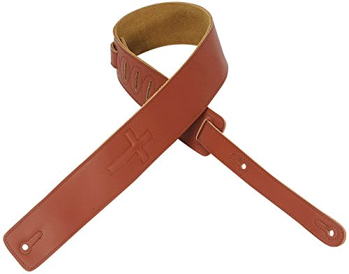 Levy's DM1SGC 1/2-Inch Leather Guitar Strap with Super-Embossed Christian Cross and Suede Backing - (1/2 Suede Guitar Strap)