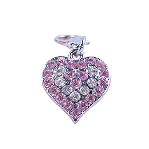 (HEART SPEAKER Rhinestone Jewelry Pendant Heart Shaped Necklace Charm Pet Tag Dog Accessory)
