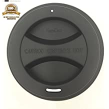 KSENDALO Reusable Silicone Lid for 12oz & 16oz Coffee Cups, Drinking Coffee/Tea Silicone Cup Lids,Black