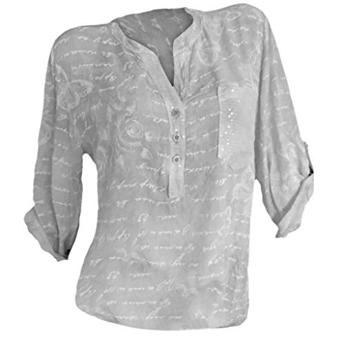 Blouse for Women,Sunyastor Women Plus Size Loose Print Stand Neck T Shirts Summer Casual Pullover Tops Shirt with Pocket Gray