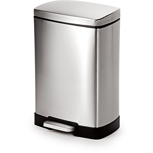 Joyware 12 Liter Rectangle Shape Step-on Stainless Steel Trash Can (Antique White Trash Can)