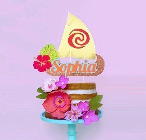 Moana Sail Boat Cake Topper Personalized Luau Party