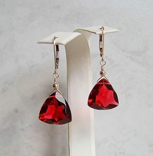 Ruby Briolette Earrings - Red Teardrop Quartz Gold Filled Leverback Briolette Earrings Simulated Ruby July Birthstone Gift Idea