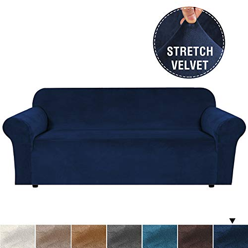 H.VERSAILTEX Real Soft Rich Velvet Plush Sofa Cover Slipcover, Thick Velvet Stretch Couch Cover for 3 Seat Sofa High Stretch Sofa Slipcover Stylish Furniture Cover Machine Washable - Large - Navy