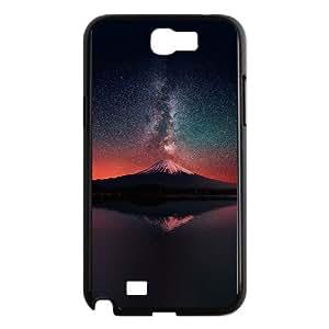 Samsung Galaxy N2 7100 Cell Phone Case Black_Milky Way On Dark Mountain Fuji Sky Oogpr