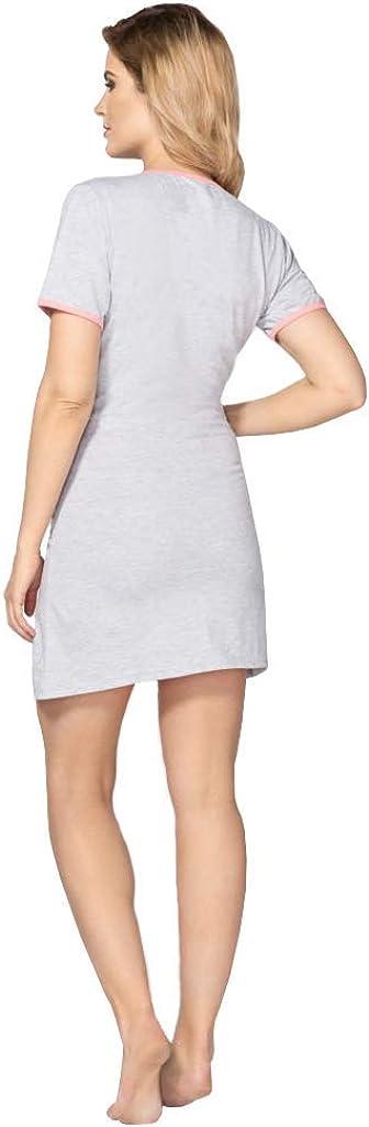 BeComfy M Camicia da Notte XL Donna Pigiama Abito maternit/à per Le Donne Incinte Manica Corta Comodo Bel 100/% Cotone Indumenti da Notte S L
