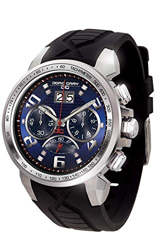 Jorg Gray | Silver Stainless Steel w/Integrated Black Silicone Strap Watch | JG5600-23 | Blue Dial (Jorg Gray Watch)